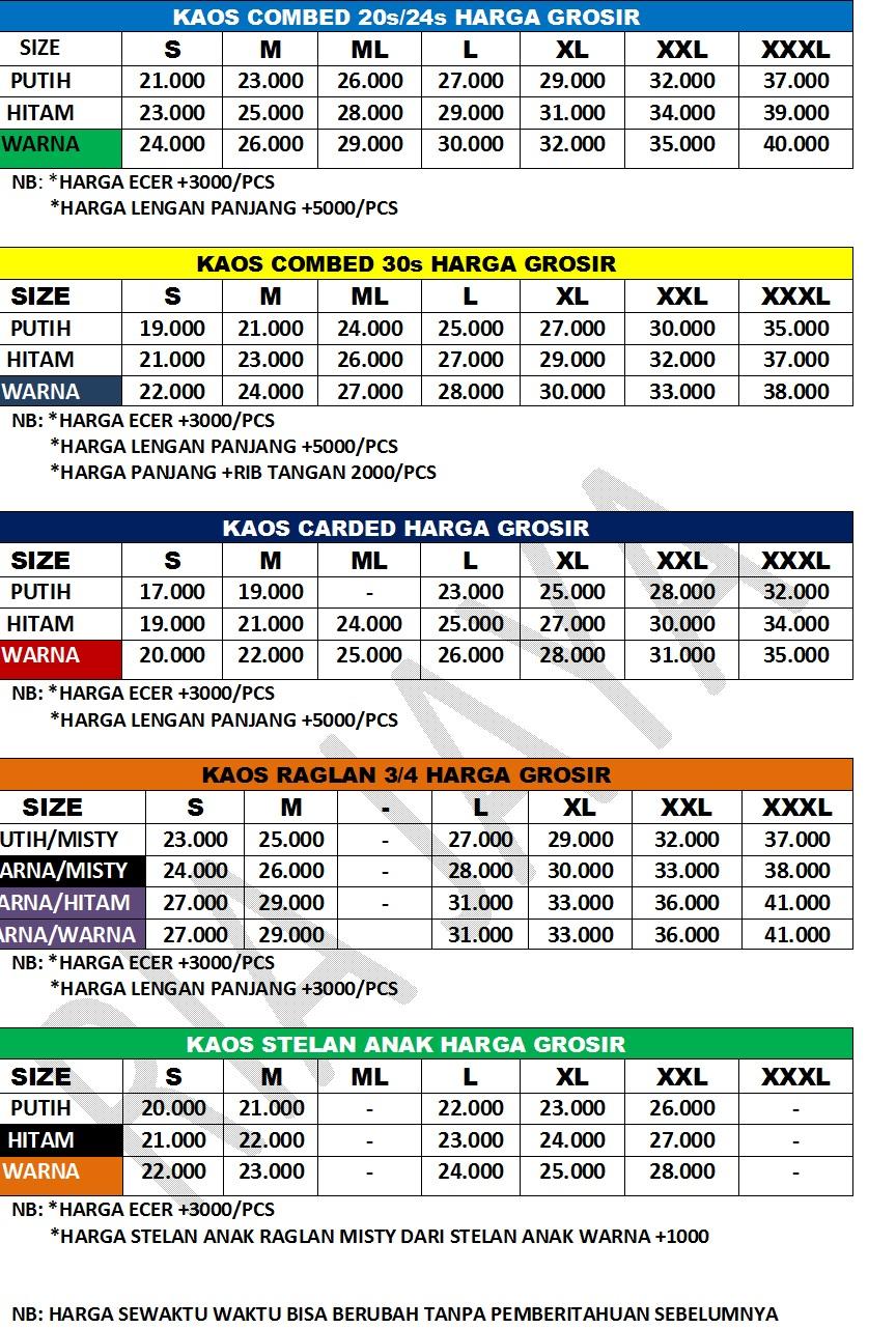 Info Harga Kaos Polos Cara Order Size Xl Lengan Panjang Cotton Combed 20s